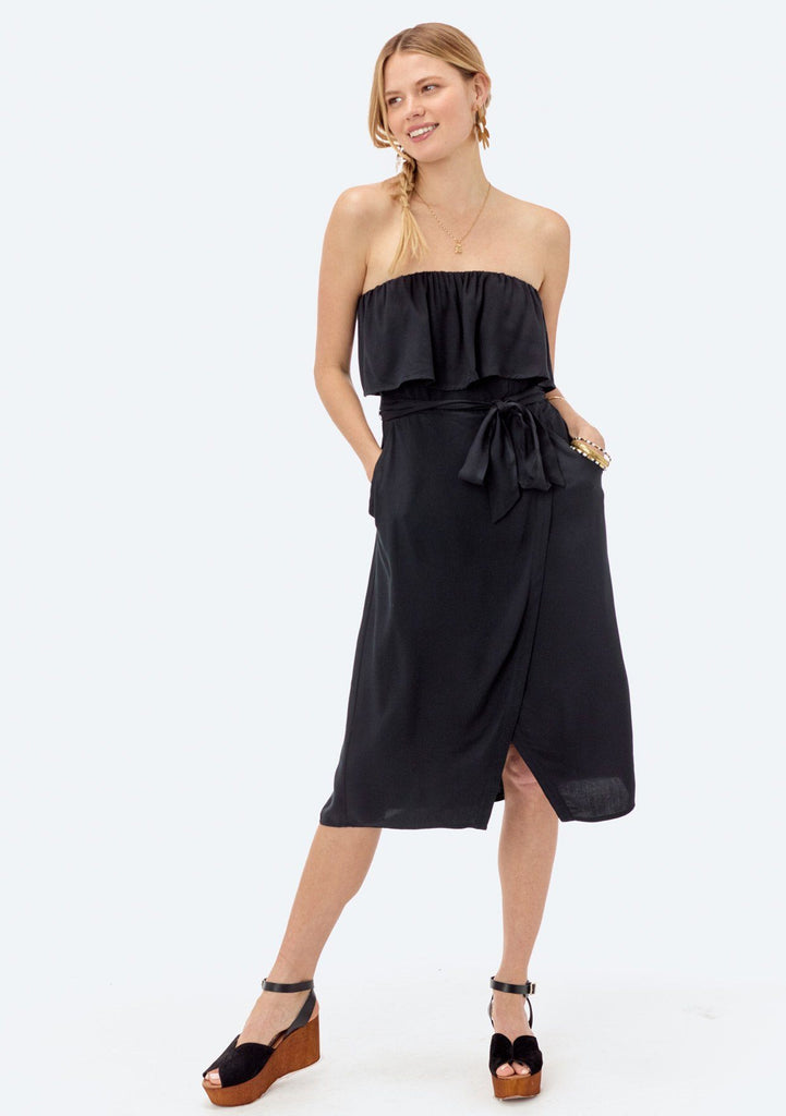 [Color: Black] Lovestitch black strapless dress with flounce top and tie belt at the waist