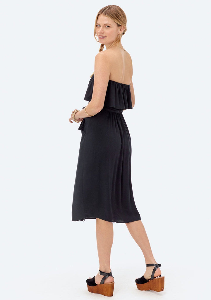 [Color: Black]  Lovestitch strapless dress with flounce top and tie belt at the waist