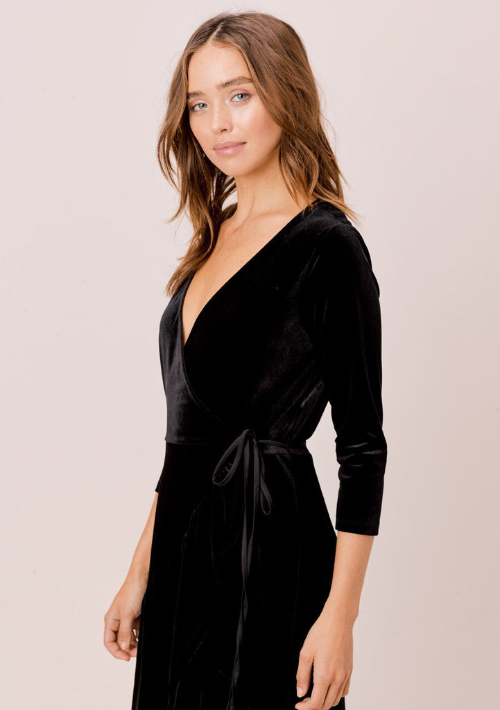 [Color: Black] Lovestitch velvet wrap midi dress with side tie closure.