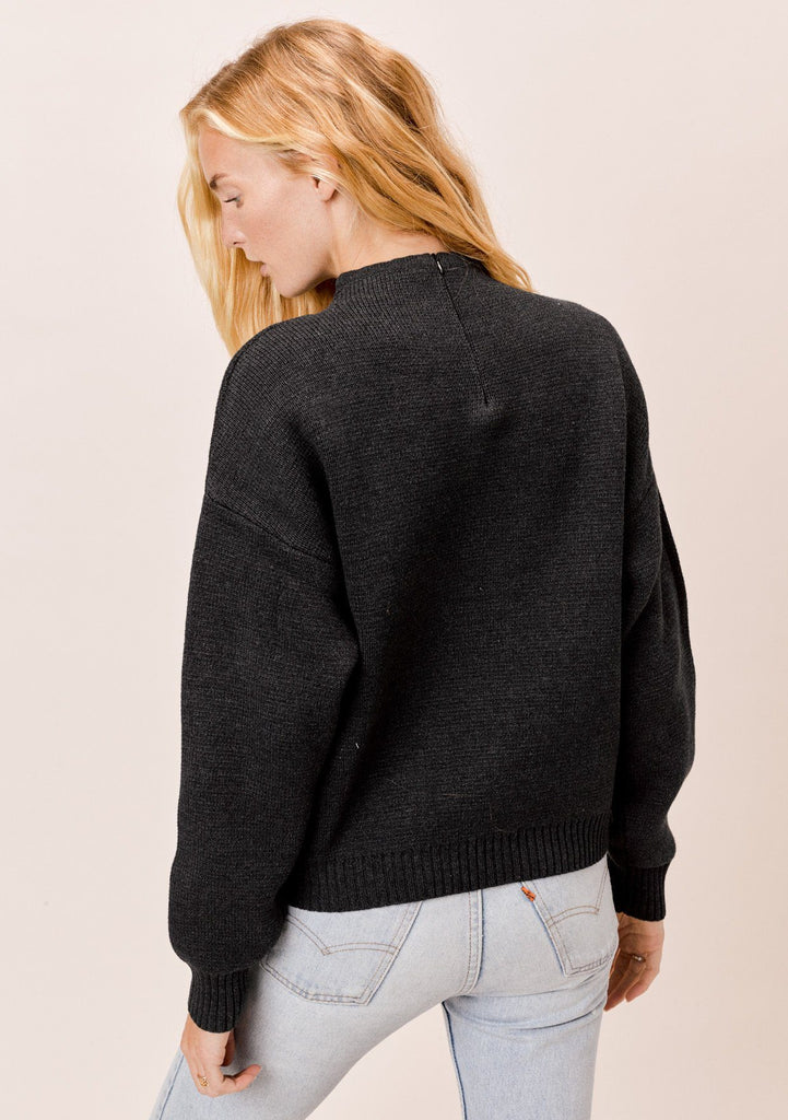 [Color: Charcoal] Lovestitch Charcoal Grey, Cotton Blend, Funnel Neck Zip Back Sweater