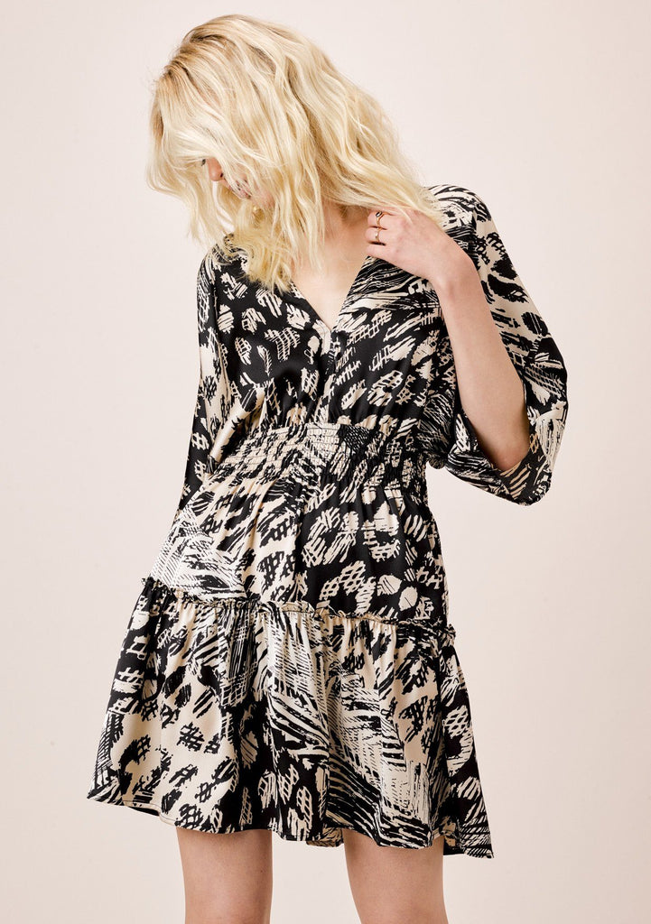 [Color: Black/Natural] Lovestitch Patchwork geo printed, smocked waist mini dress with kimono sleeves.