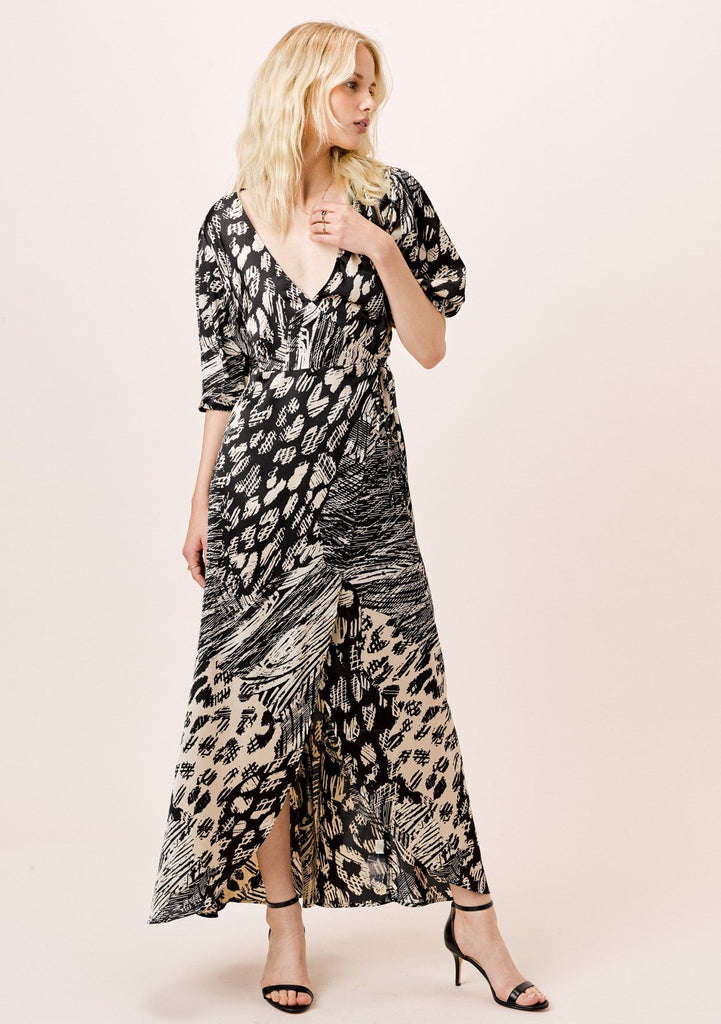 [Color: Black/Natural] Lovestitch black and natural geo print, satin wrap maxi dress with volume sleeve