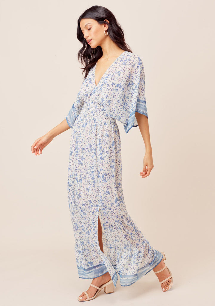 [Color: Blue/Ivory] Lovestitch blue/ivory Floral printed, kimono sleeve maxi dress with smocked waist and tie back open detail.