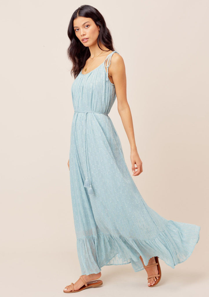 [Color: Blue] Lovestitch blue Jacquard chiffon maxi dress with tie shoulder and metallic details. Featuring a ruffled hem and a flattering tie waist.