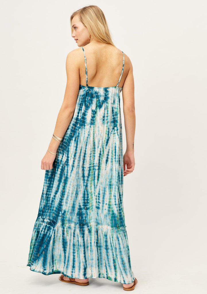 [Color: Ocean/Copper] Lovestitch beach maxi dress in beautiful blue and white tie dye, sexy V-neck and pockets