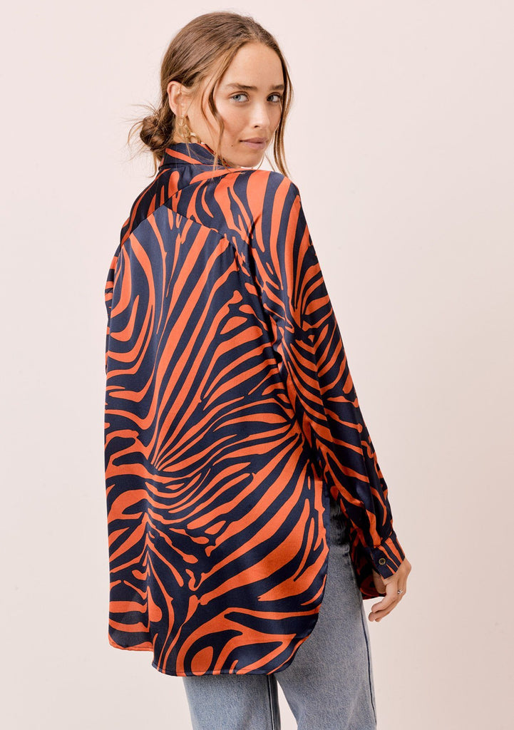 [Color: DarkTeal/Toffee] Lovestitch vibrantly colored zebra striped buttondown in polyester crepe