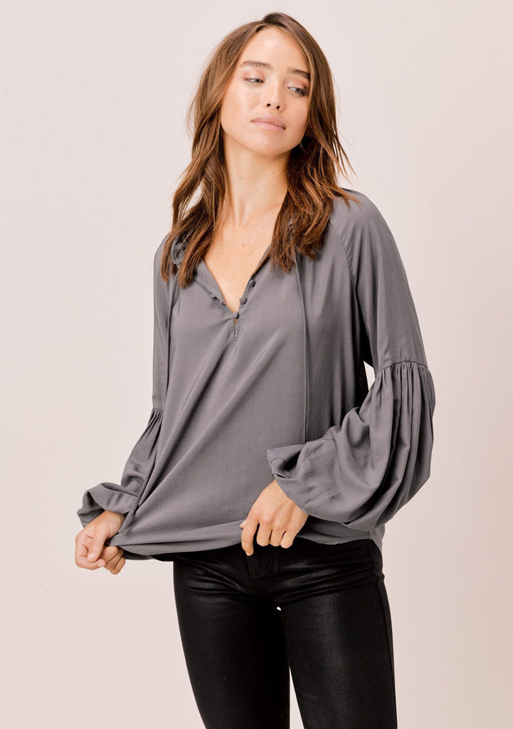 [Color: Pewter] Lovestitch Pewter, long lantern sleeve top with ruffle neck detail and covered buttons