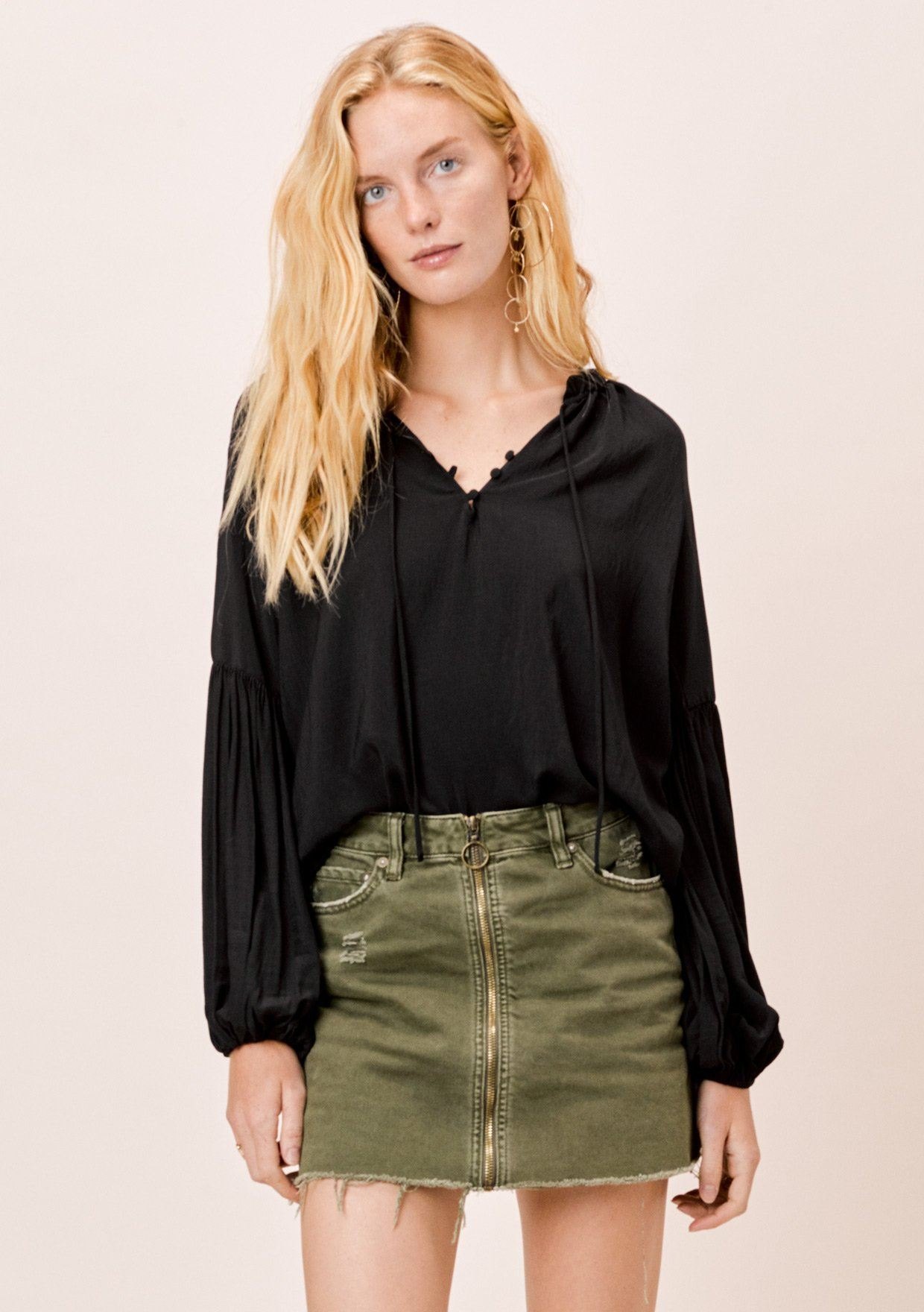 [Color: Black] Lovestitch Black, long lantern sleeve top with ruffle neck detail and covered buttons