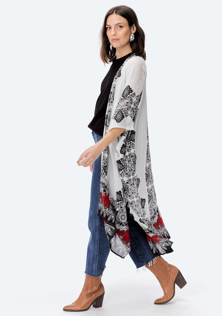 [Color: White/Red] Lovestitch white & red, semi sheer, printed long kimono.