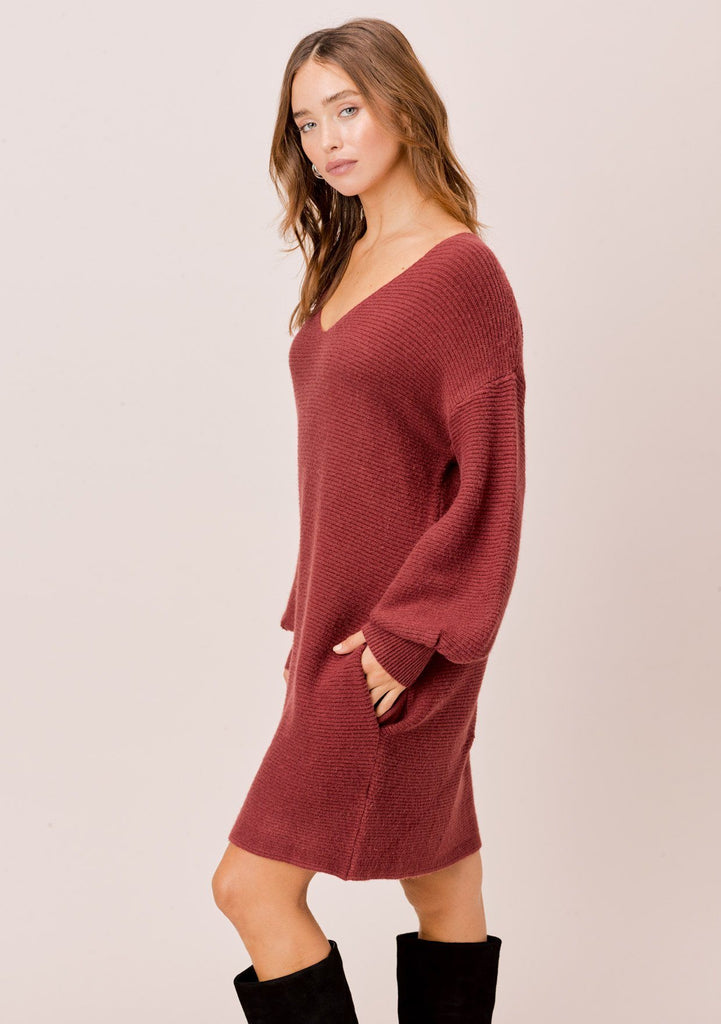 [Color: Brick] Ribbed, mini sweater dress with comfy side pockets and elegant volume sleeve.