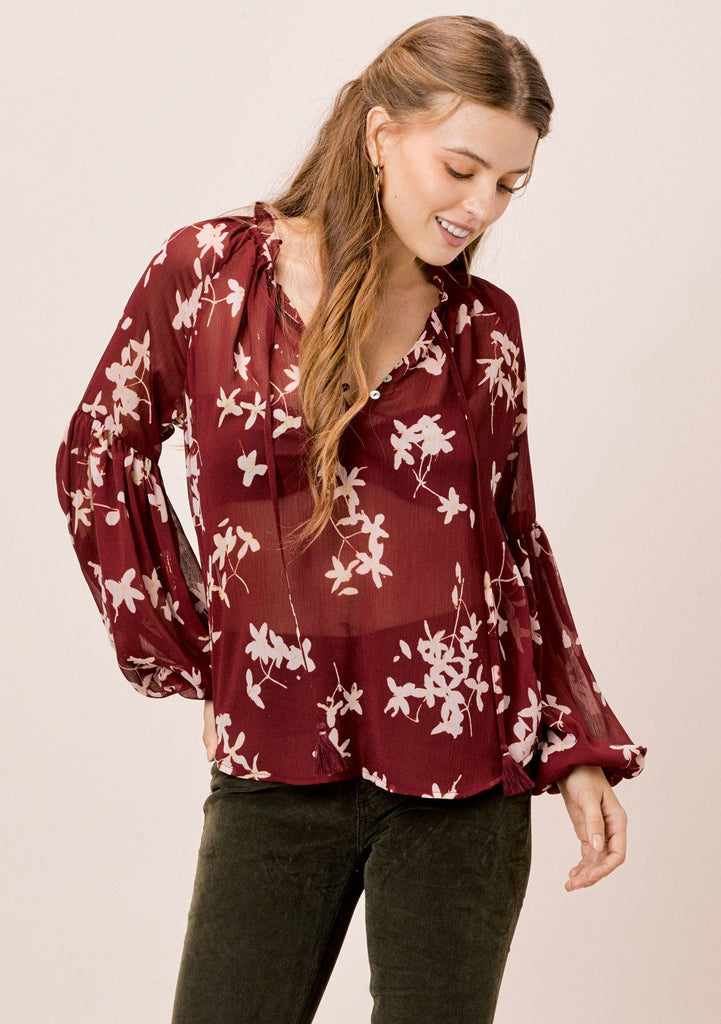 [Color: Brick/Rosewater] Lovestitch Elegant floral print bohemian blouse with ruffled neck and trendy volume sleeves.