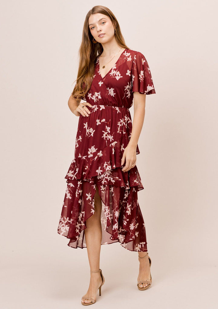 [Color: Brick/Rosewater] Lovestitch brick/rosewater floral printed, short sleeve, surplice front maxi dress with ruffle detail and front slit.