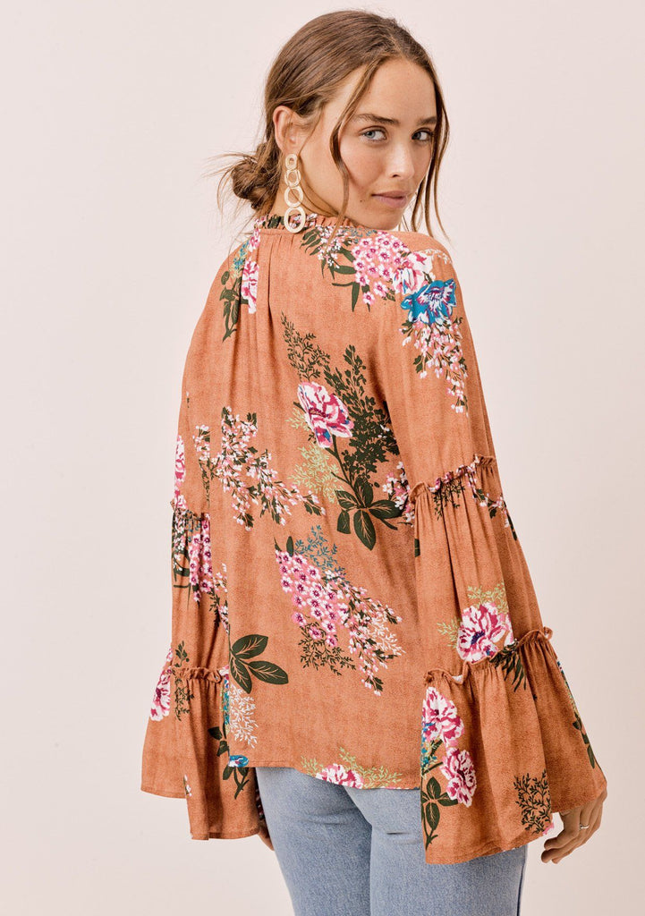[Color: Saddle] Lovestitch saddle brown Floral printed, bell sleeve, bohemian top with tie neck and ruffle details.