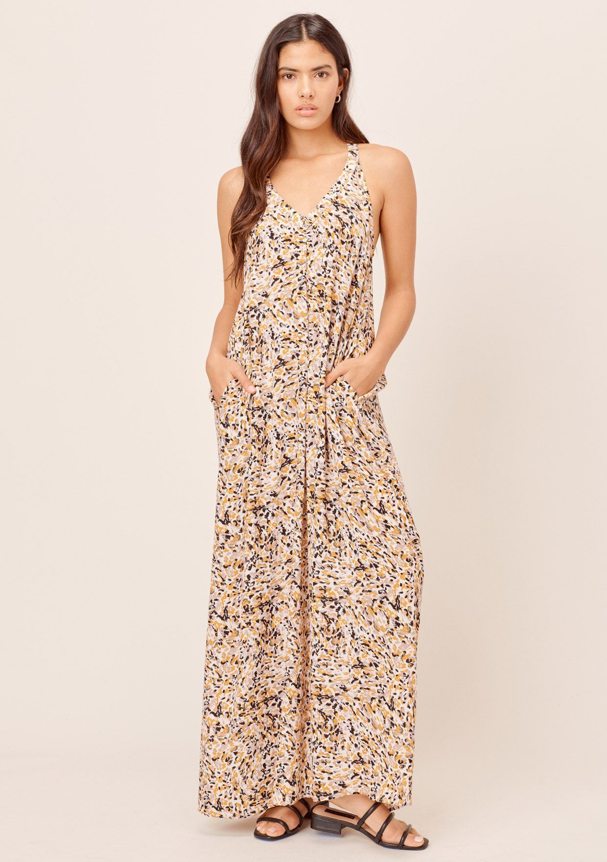 [Color: Bone/Butterscotch] Lovestitch Brushstroke animal printed, pleated racerback maxi dress with side pockets.