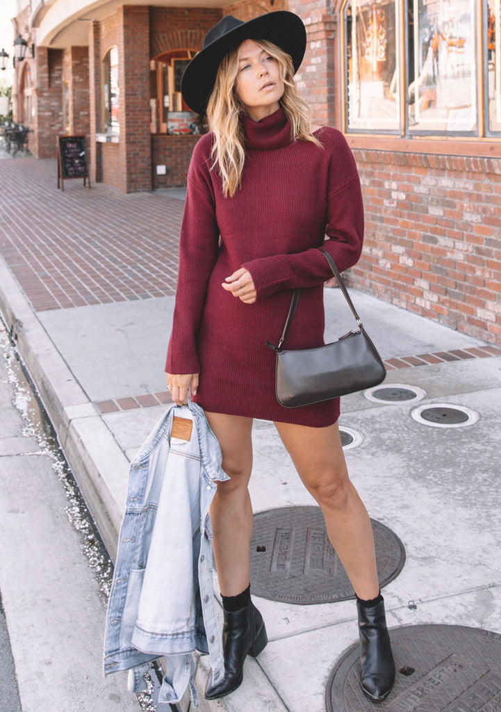 [Color: Merlot] Lovestitch Merlot Cut Out Turtleneck Ribbed Sweater Dress