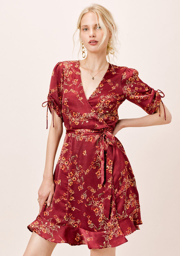 [Color: Burgundy] Lovestitch burgundy floral satin faux wrap dress with shirred sleeves.