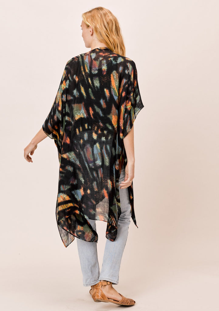 [Color: Black Butterfly] Lovestitch black butterfly printed kimono with side slits