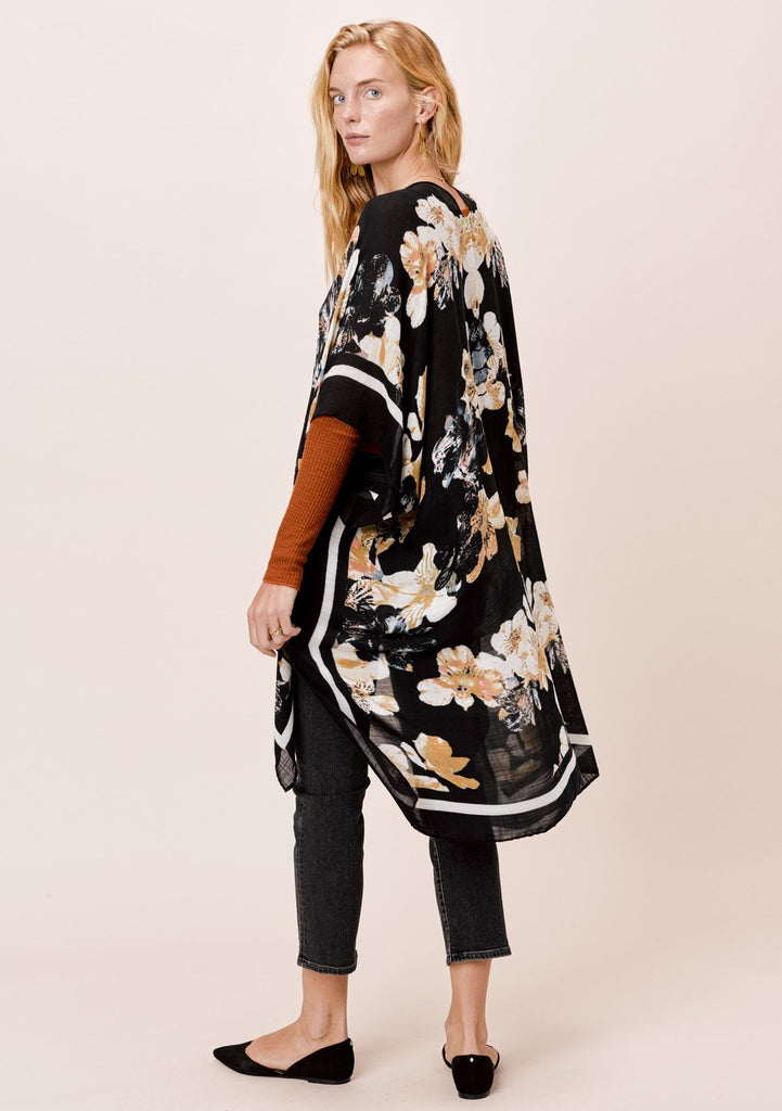 [Color: Black Floral] Lovestitch Black Floral Border Printed Kimono