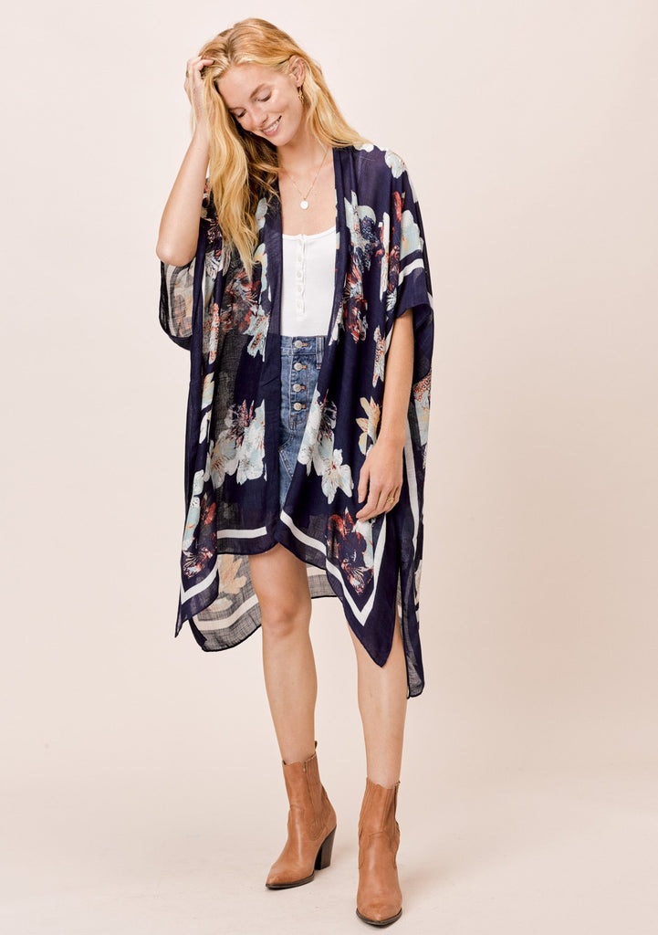 [Color: Blue Floral] Lovestitch Blue Floral Border Printed Kimono