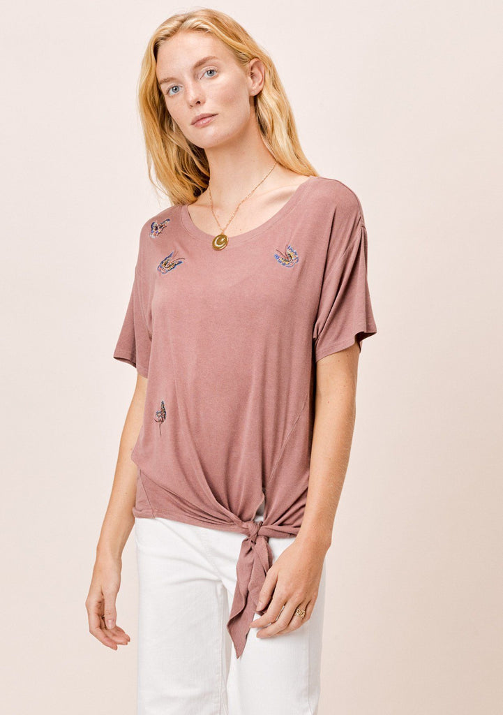 [Color: Vintage Rose] Lovestitch vintage rose, dirty wash, tee with embroidered butterflies.