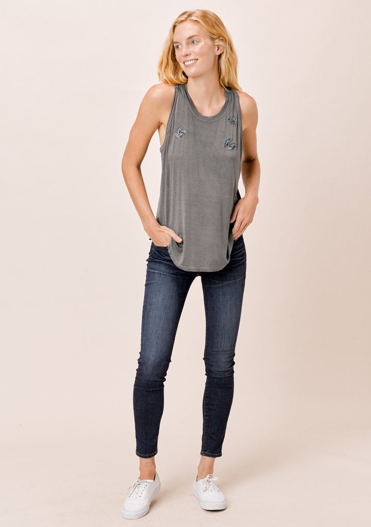 [Color: Charcoal] Lovestitch vintage charcoal, dirty wash, racerback raw edge tank top