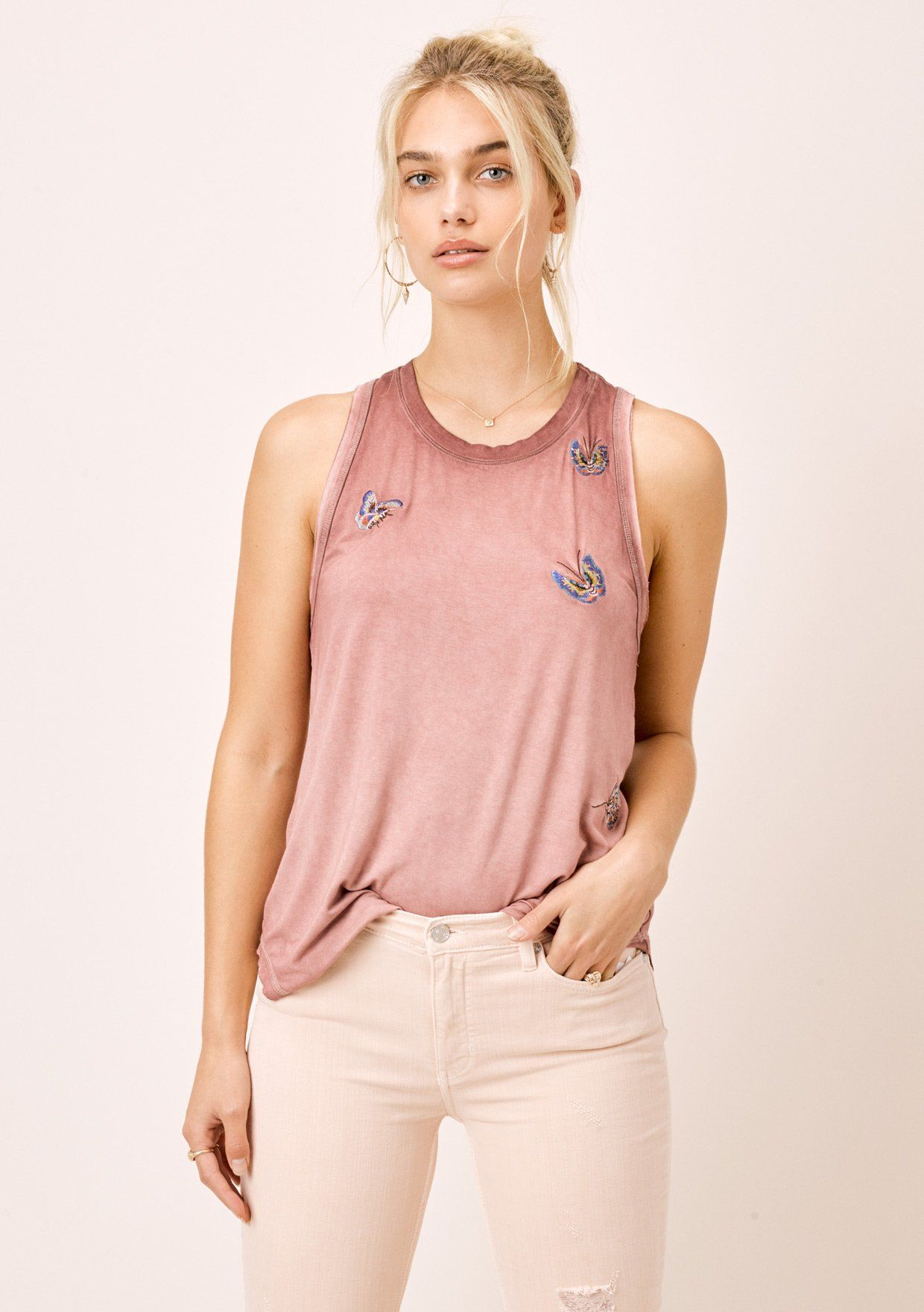 [Color: Vintage Rose] Lovestitch vintage rose, dirty wash, racerback raw edge tank top