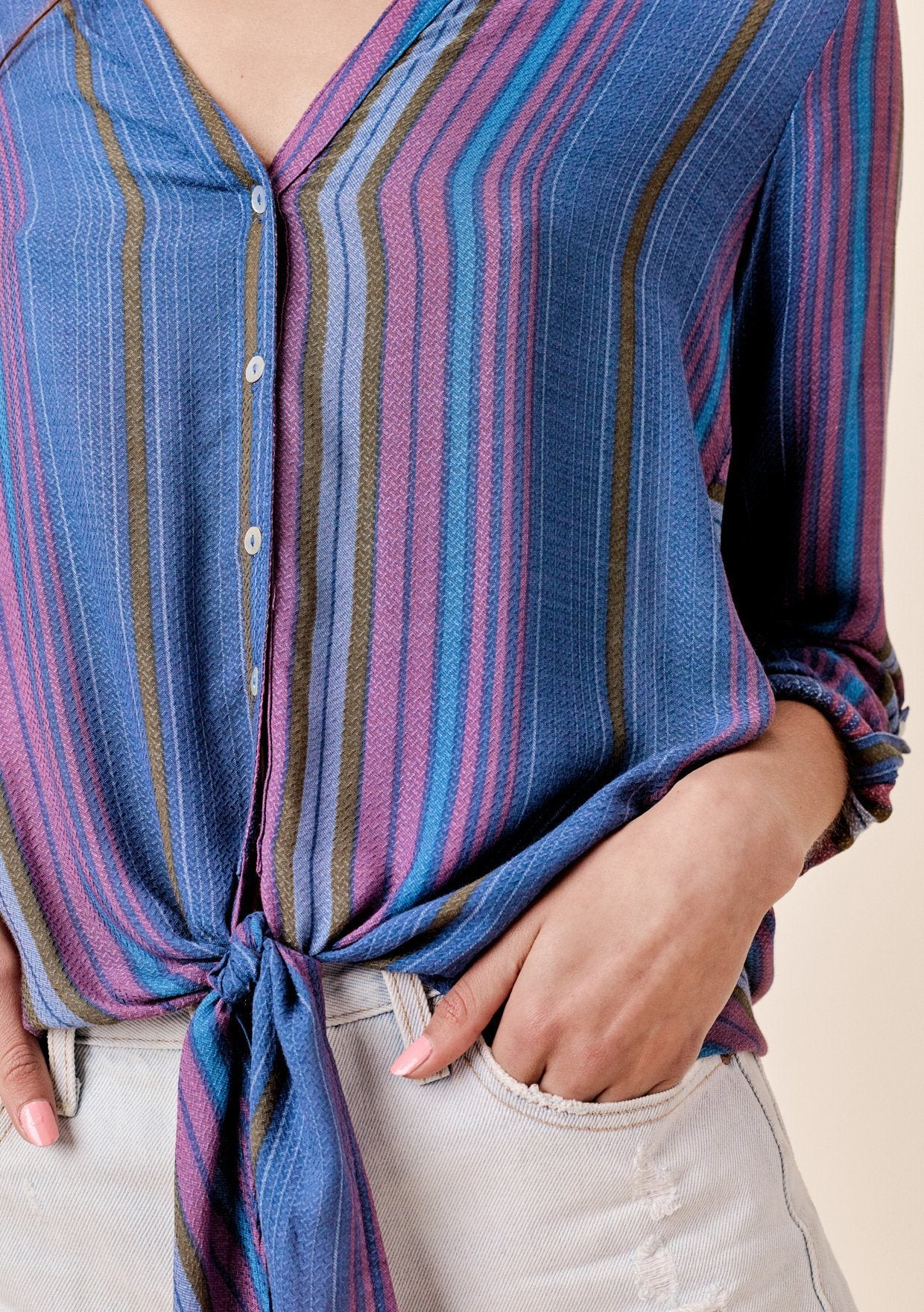 110f821442a09f Striped V-neck Buttondown | LOVESTITCH Blouses & Shirts
