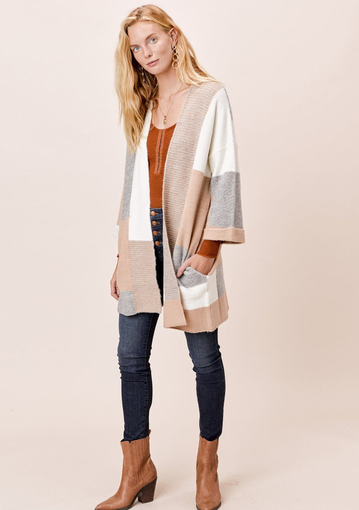 [Color: Camel/Ivory] Lovestitch Patchwork Color Block Coatigan