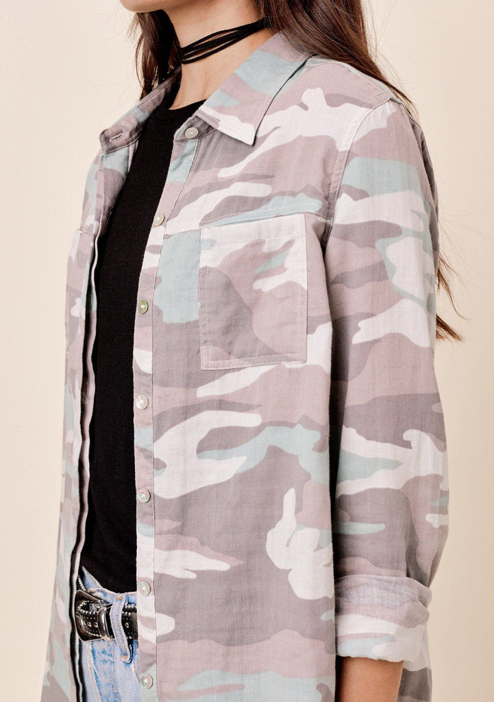 [Color: Grey/Taupe] Lovestitch Long sleeve, all over camo printed, buttondown shirt with two pocket detail.