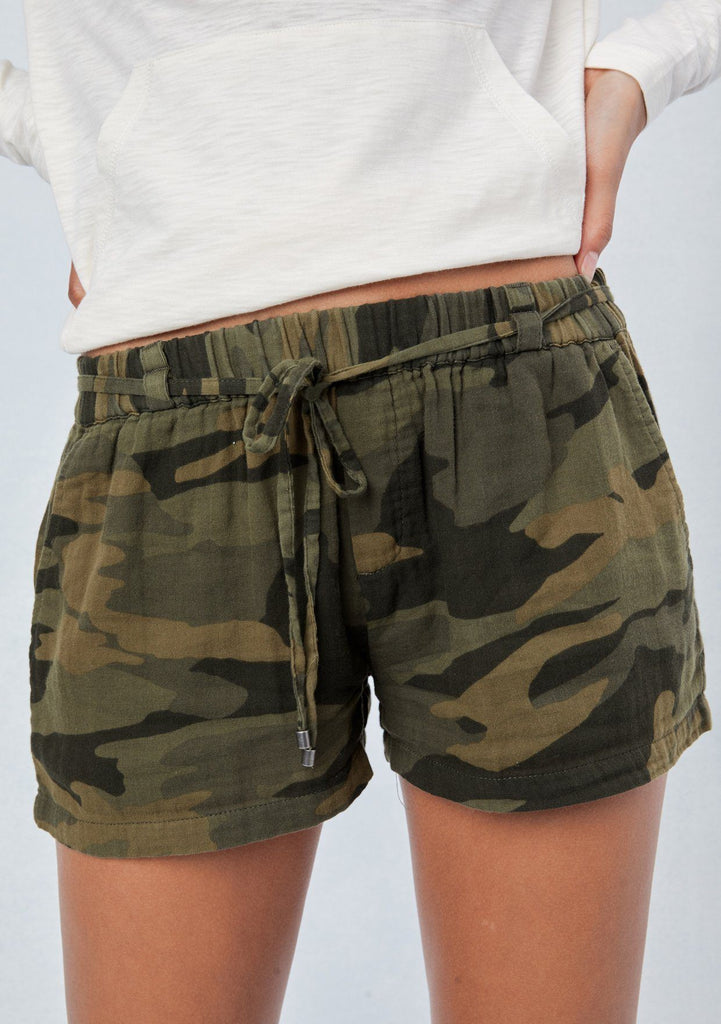 [Color: Camo] Lovestitch camouflage printed, drawstring shorts with side pockets, elastic waist and self tie belt.