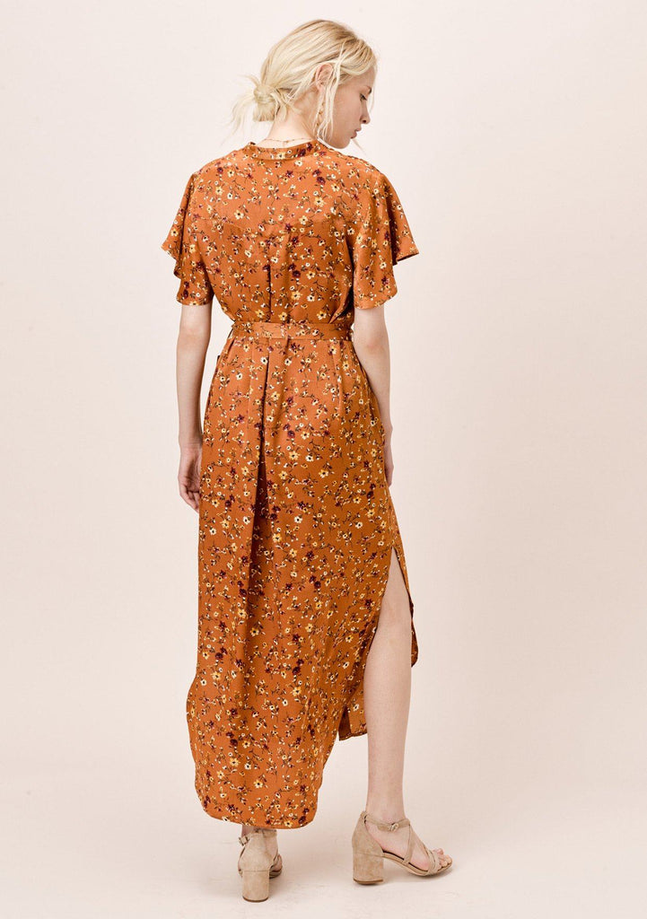 [Color: Caramel] Lovestitch Caramel Floral Kimono Dress with Belt