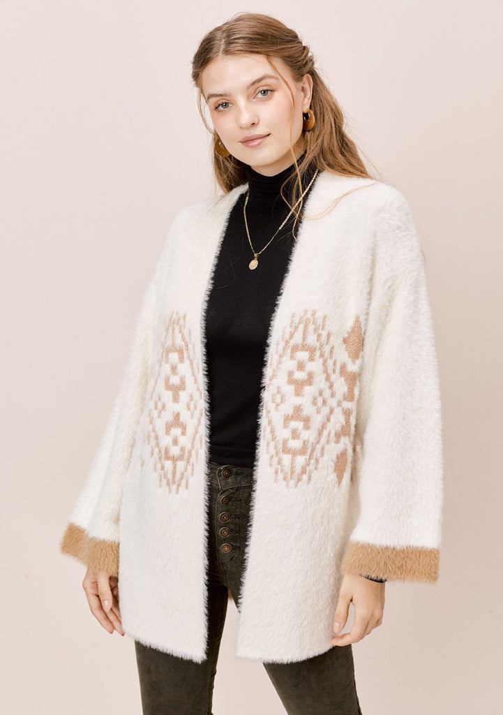 [Color: Beige/Bronze] Lovestitch Open Cardigan with Aztec Motif with Metallic Details
