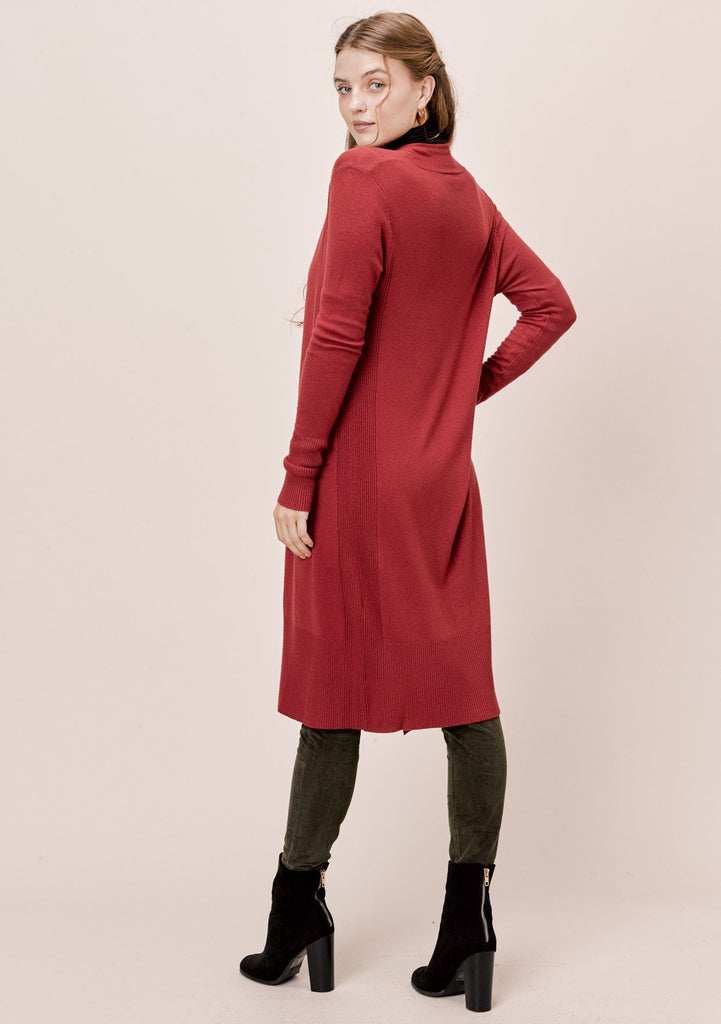 [Color: Terracotta] Lovestitch Slim fit, long sleeve, open cardigan with ribbed details.
