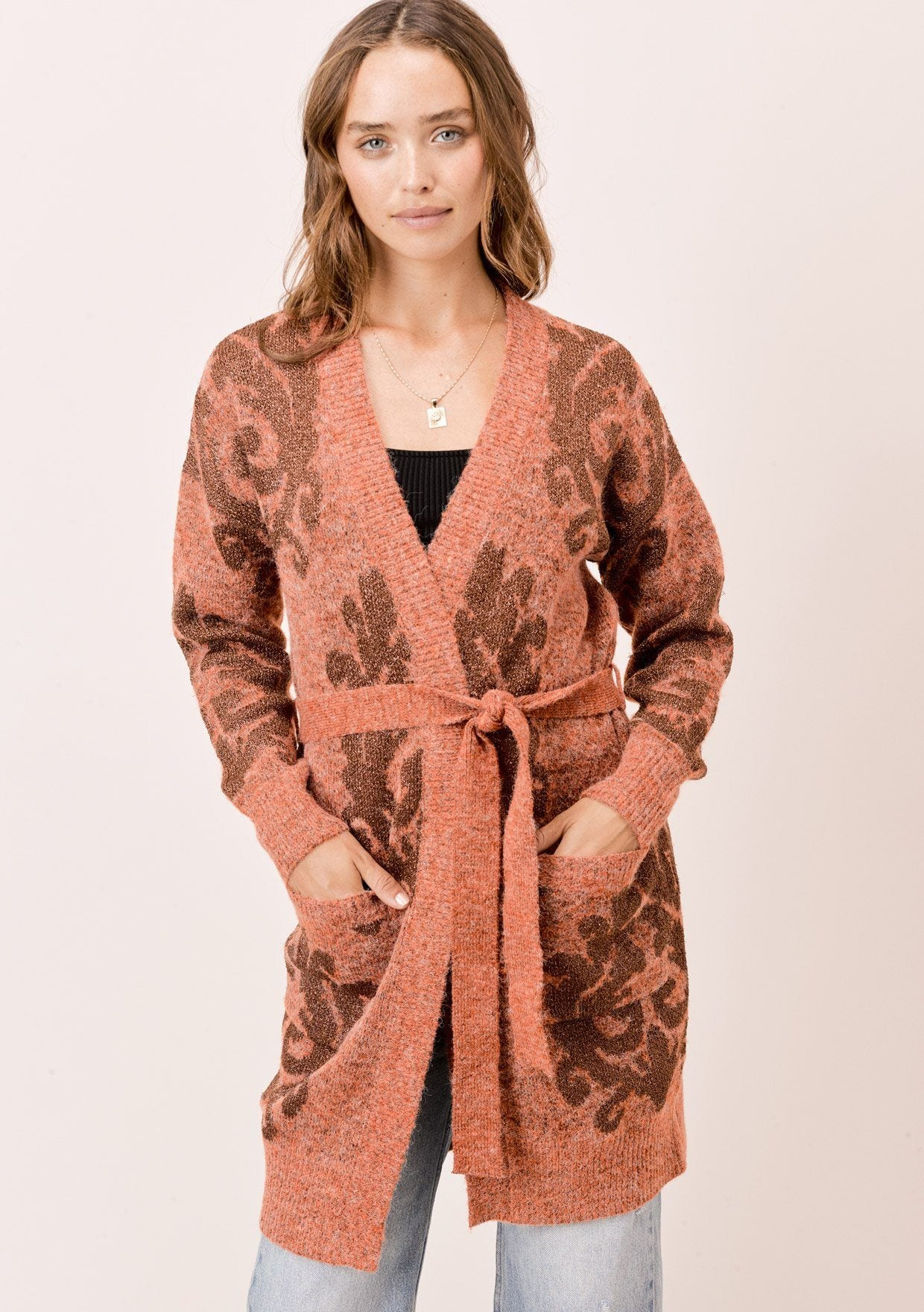 [Color: HeatherRust/Bronze] Lovestitch Long sleeve, belted, two pocket cardigan with metallic jacquard design.