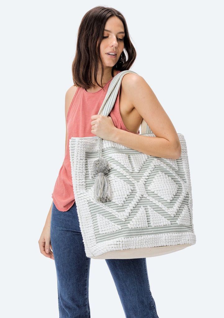 [Color: White/Silver] Lovestitch oversized, double diamond patterned, carpet beach tote