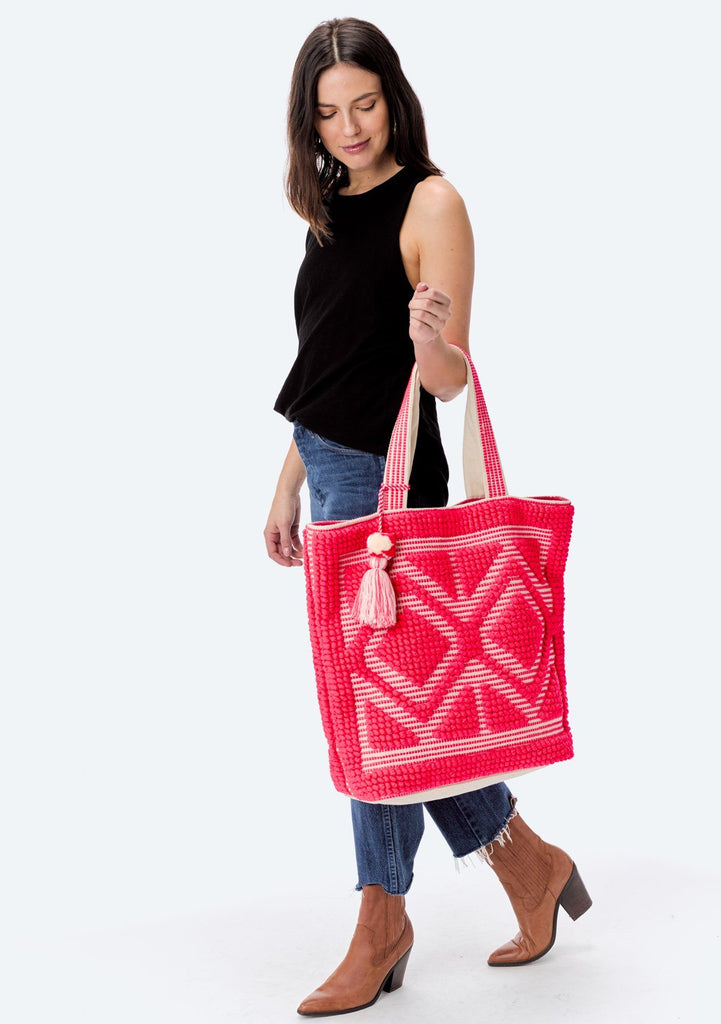 [Color: NeonPink/Natural] Lovestitch oversized, double diamond patterned, carpet beach tote