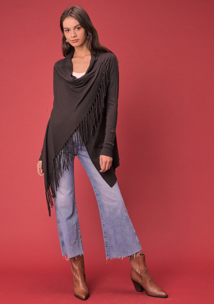 [Color: Cocoa] Lovestitch cocoa brown, buttery soft, wrap sweater with fringe.