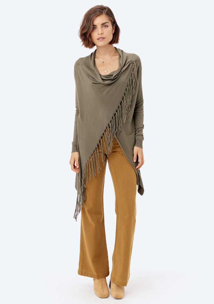 [Color: Vintage Elm] Lovestitch vintage elm green, buttery soft, wrap sweater with fringe.