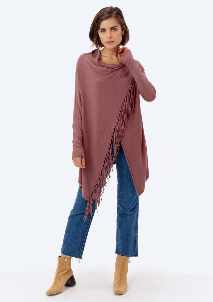 [Color: Vintage Rose] Lovestitch vintage rose, buttery soft, wrap sweater with fringe.