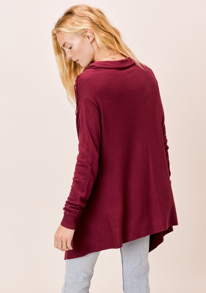 [Color: Merlot] Lovestitch merlot red, buttery soft, wrap sweater with fringe.