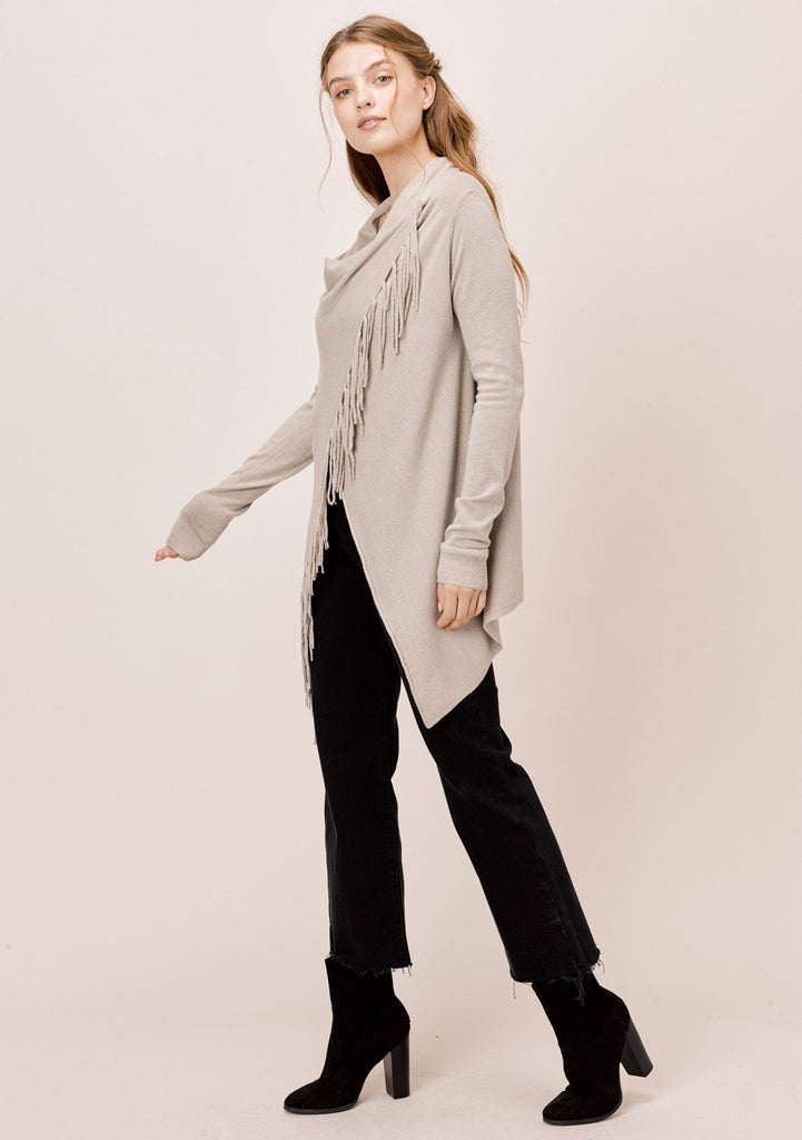 [Color: Heather Cement] Lovestitch heather cement, buttery soft, wrap sweater with fringe.