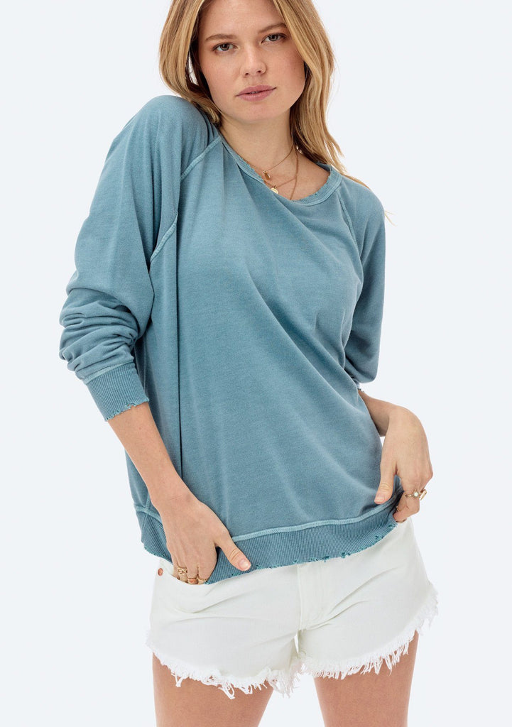 [Color: Sky] Lovestitch lightweight frenchterry crewneck sweater with distressed detail.