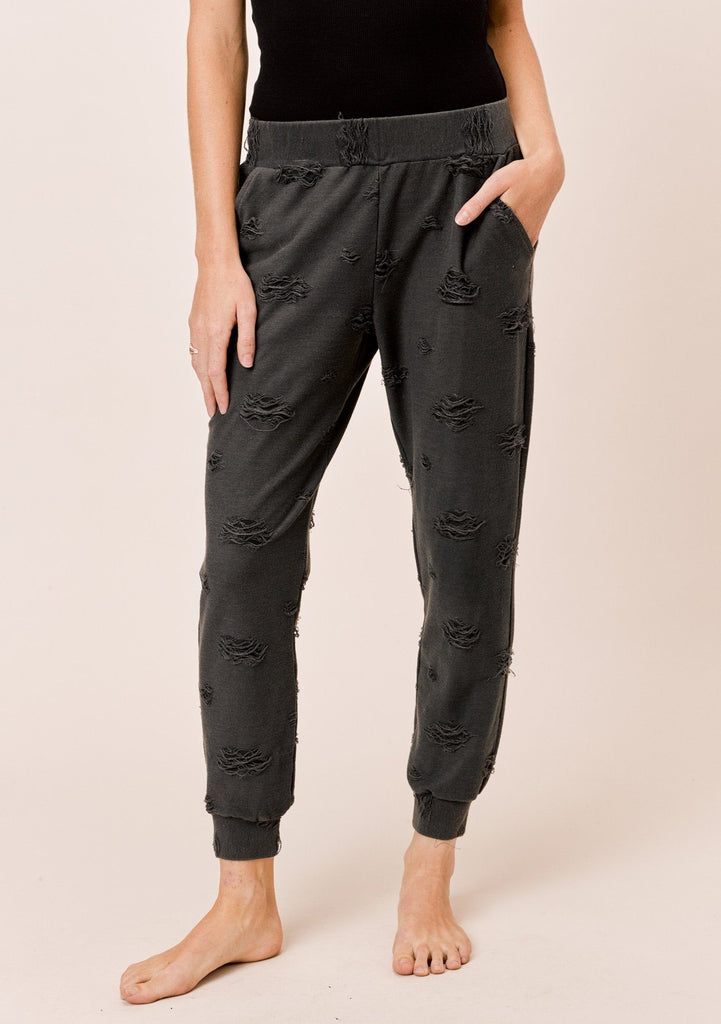 [Color: Charcoal] Lovestitch distressed sweatpant with elastic waistband and pockets
