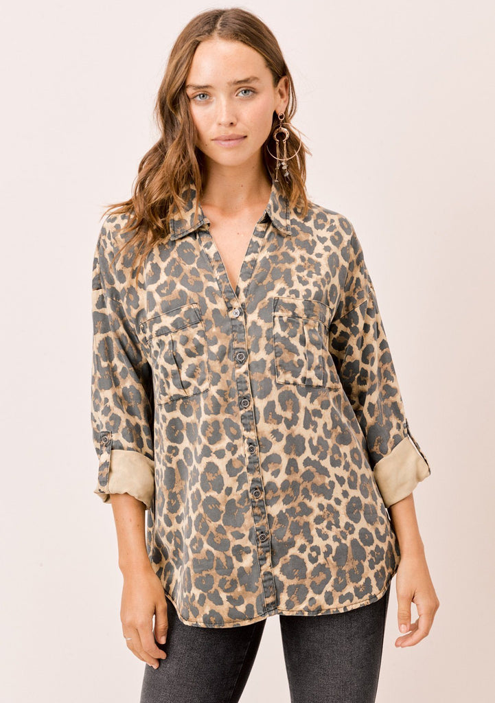 [Color: Cheetah] Lovestitch, long sleeve, cheetah printed, buttondown top with roll tab sleeves and two pocket detail.