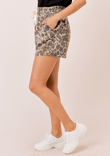 Cheetah Drawstring Shorts
