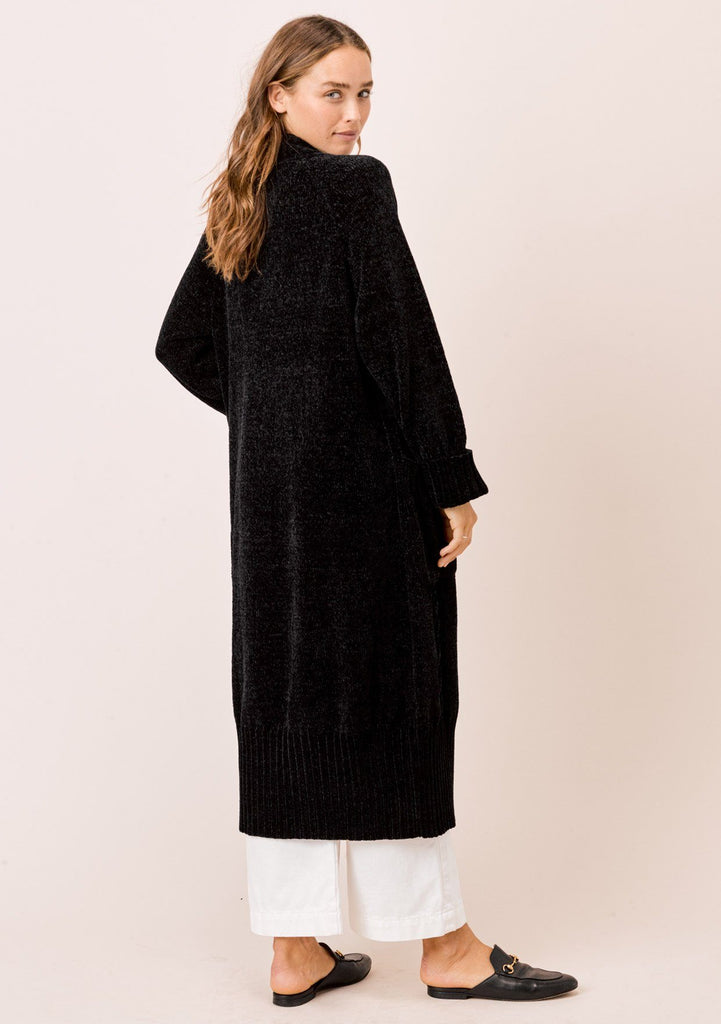 [Color: Black] Lovestitch black Long sleeve, oversized, chenille cable knit duster cardigan with cuffed sleeves and ribbed detail.