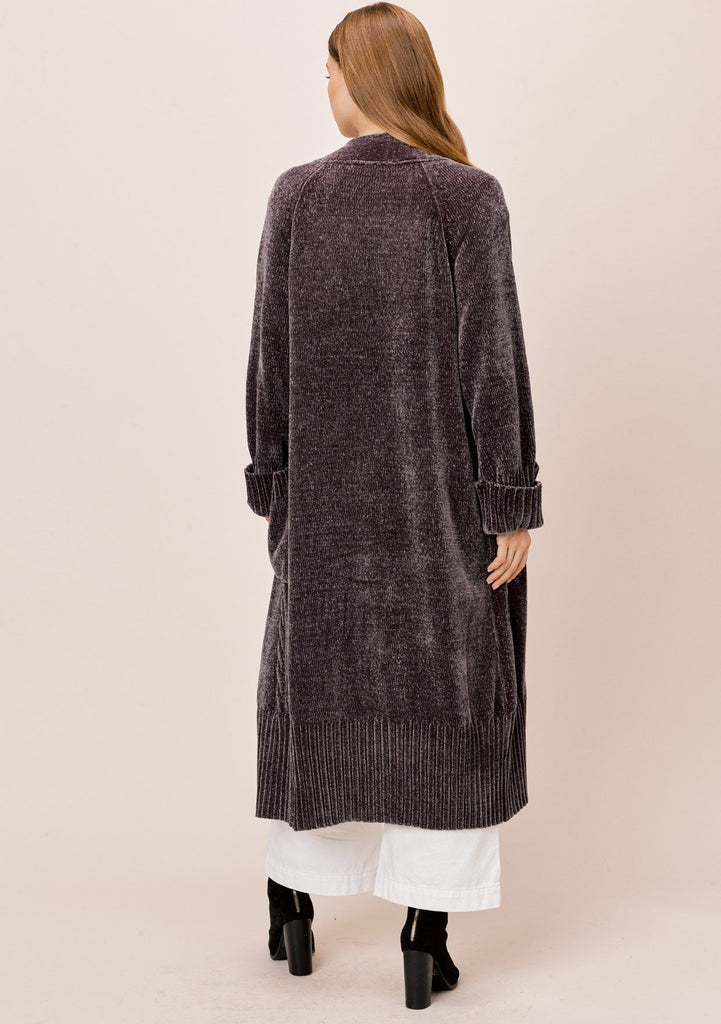 [Color: Charcoal] Lovestitch charcoal Long sleeve, oversized, chenille cable knit duster cardigan with cuffed sleeves and ribbed detail.