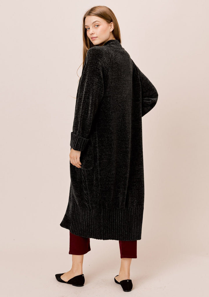 [Color: Forest] Lovestitch forest Long sleeve, oversized, chenille cable knit duster cardigan with cuffed sleeves and ribbed detail.