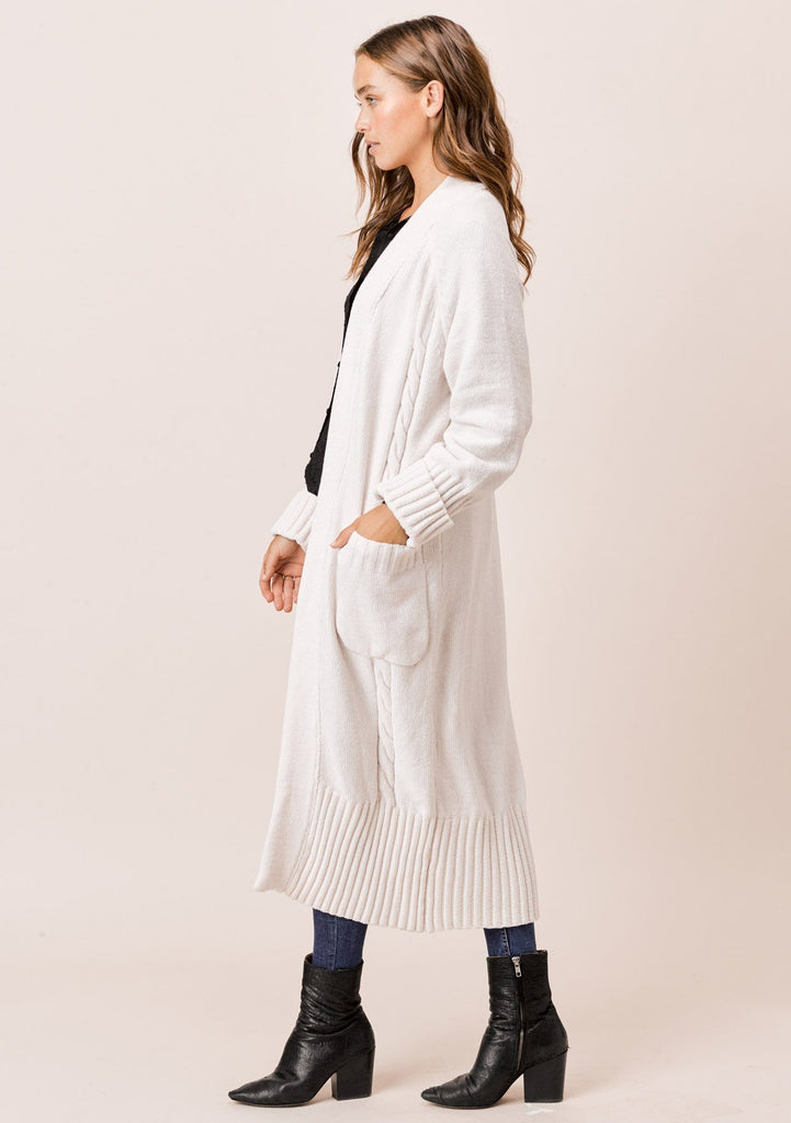 [Color: Vanilla] Lovestitch vanilla Long sleeve, oversized, chenille cable knit duster cardigan with cuffed sleeves and ribbed detail.