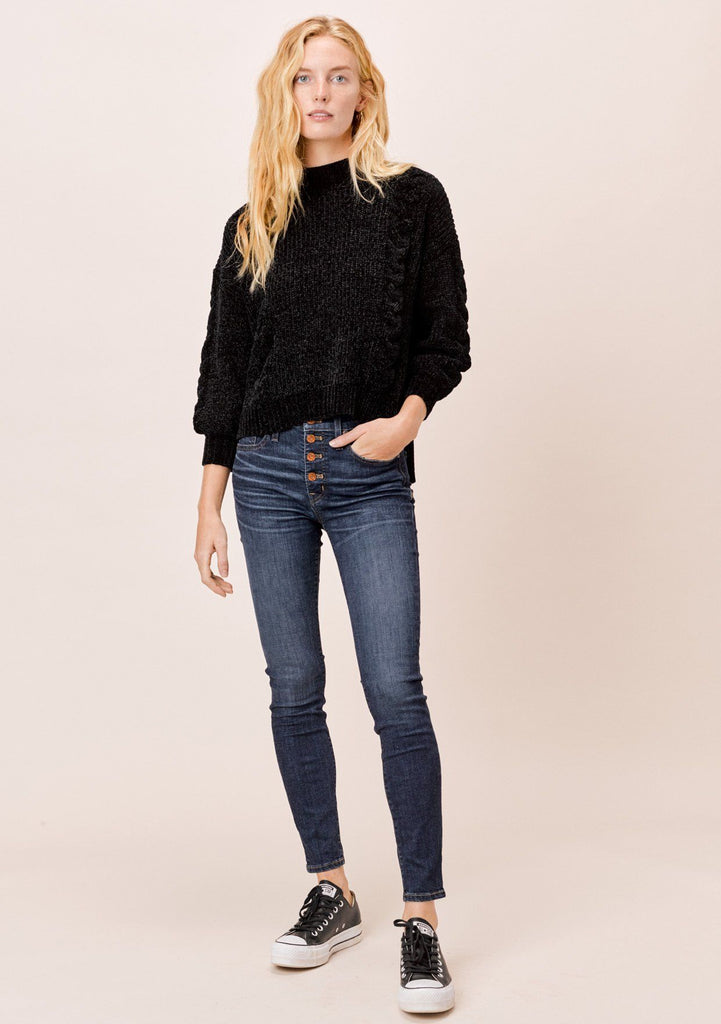 [Color: Black] Lovestitch black chenille, cable knit sweater with mock neck and drop shoulder
